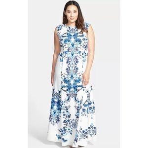 Eliza J Crêpe de Chine Mermaid Blue Printed Dress